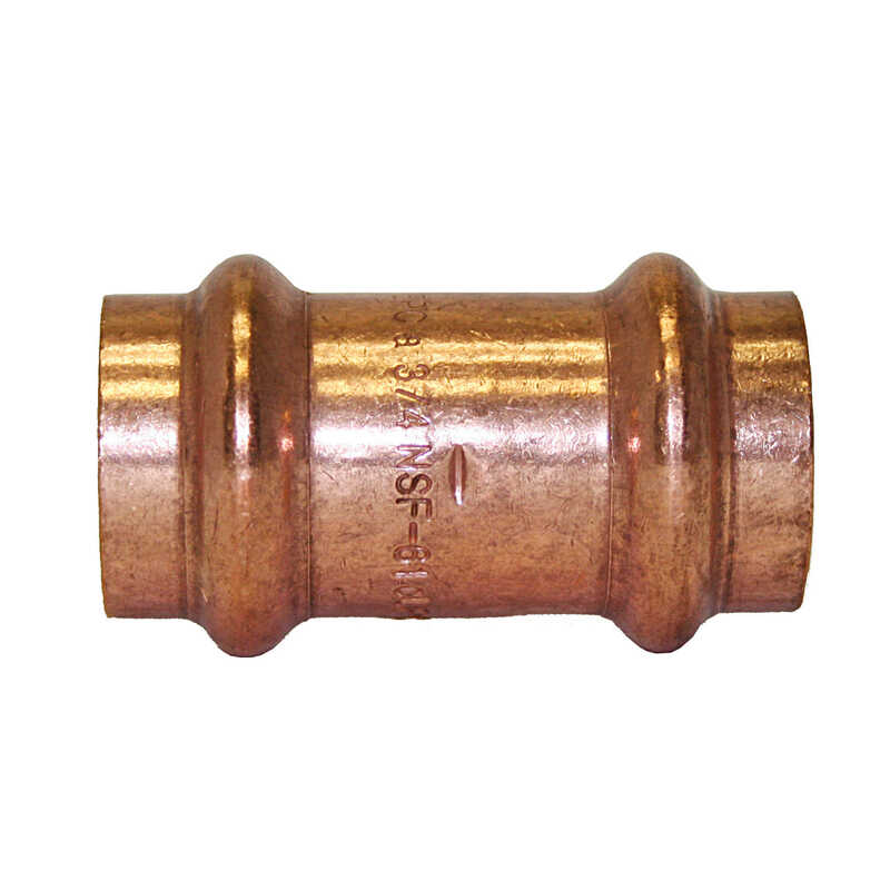Mueller Streamline  1/2 in. CTS   x 1/2 in. Dia. CTS/Press  Copper  Coupling with Stop