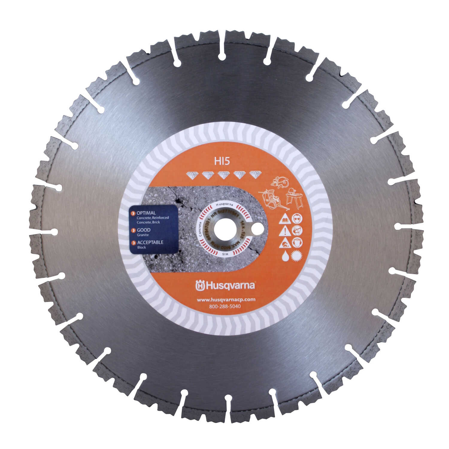 Husqvarna  14  0.125 in. thick  HI5  Segmented Rim Saw Blade  1 in./20 mm  24 teeth 1 pk Diamond