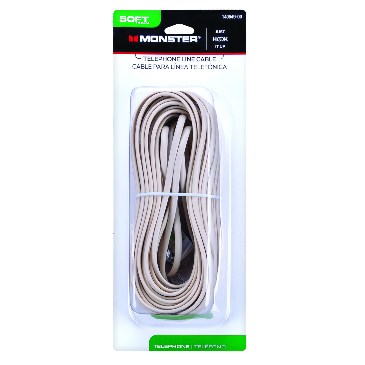 Monster Cable  50 ft. L Modular Telephone Line Cable  Ivory