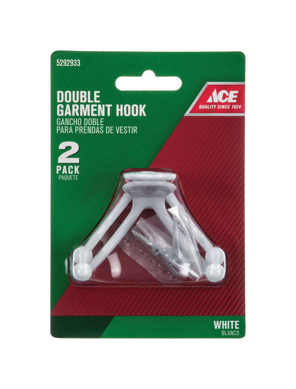 Ace  1-3/4 in. L White  Metal  Small  Double Garment  White  2 pk Hook