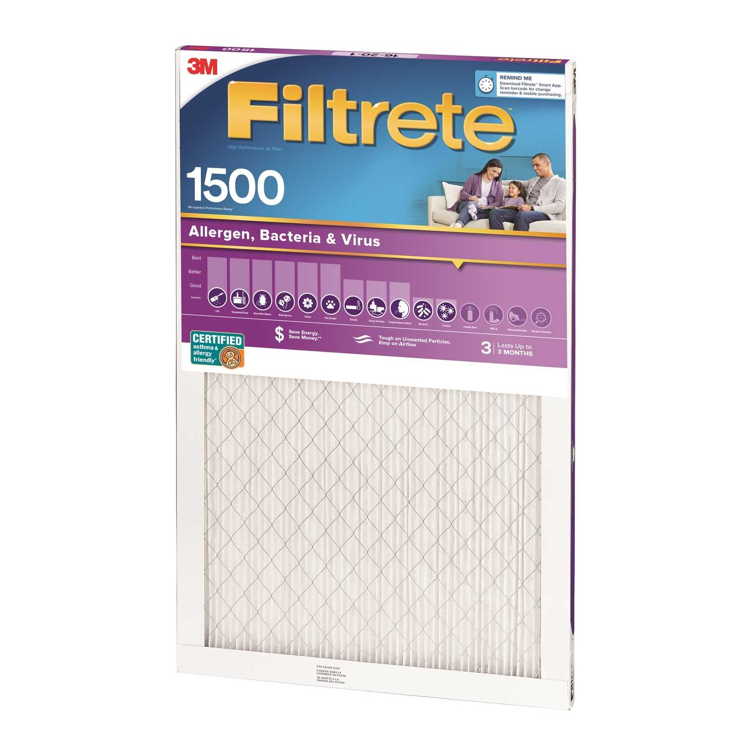 3M  Filtrete  24 in. H x 14 in. W x 1 in. D 12 MERV Air Filter