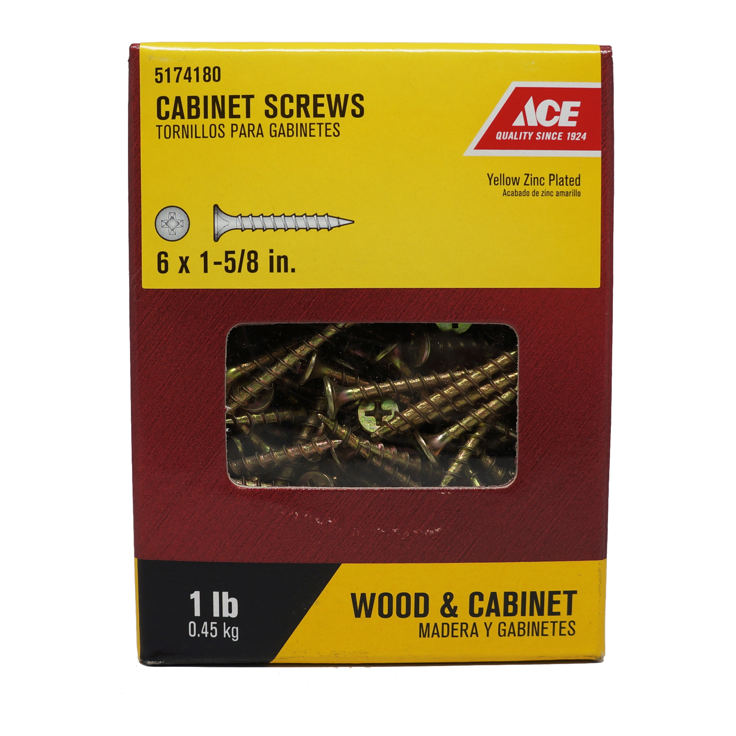 Ace  No. 6   x 1-5/8 in. L Phillips  Yellow Zinc-Plated  Steel  Cabinet Screws  1 lb. 1 lb. Bugle