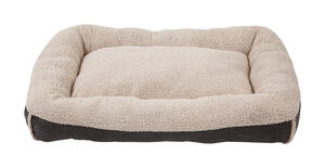 Aspen Pet  Gray  Bolster Bed  Faux Lambs Wool  Deluxe Pet Pillow  10 in. H x 40 in. W x 30 in. L