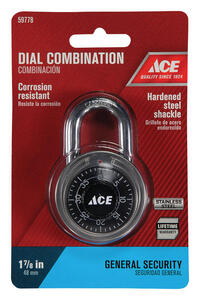 Ace  1-7/8 in. H x 1-7/8 in. W x 3/4 in. L Stainless Steel  Single Locking  Combination Padlock  1 p