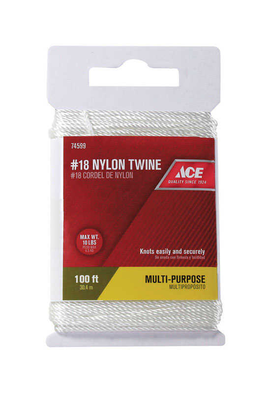 Ace  100 ft. L x 18 in. Dia. White  Nylon  Twine  Twisted
