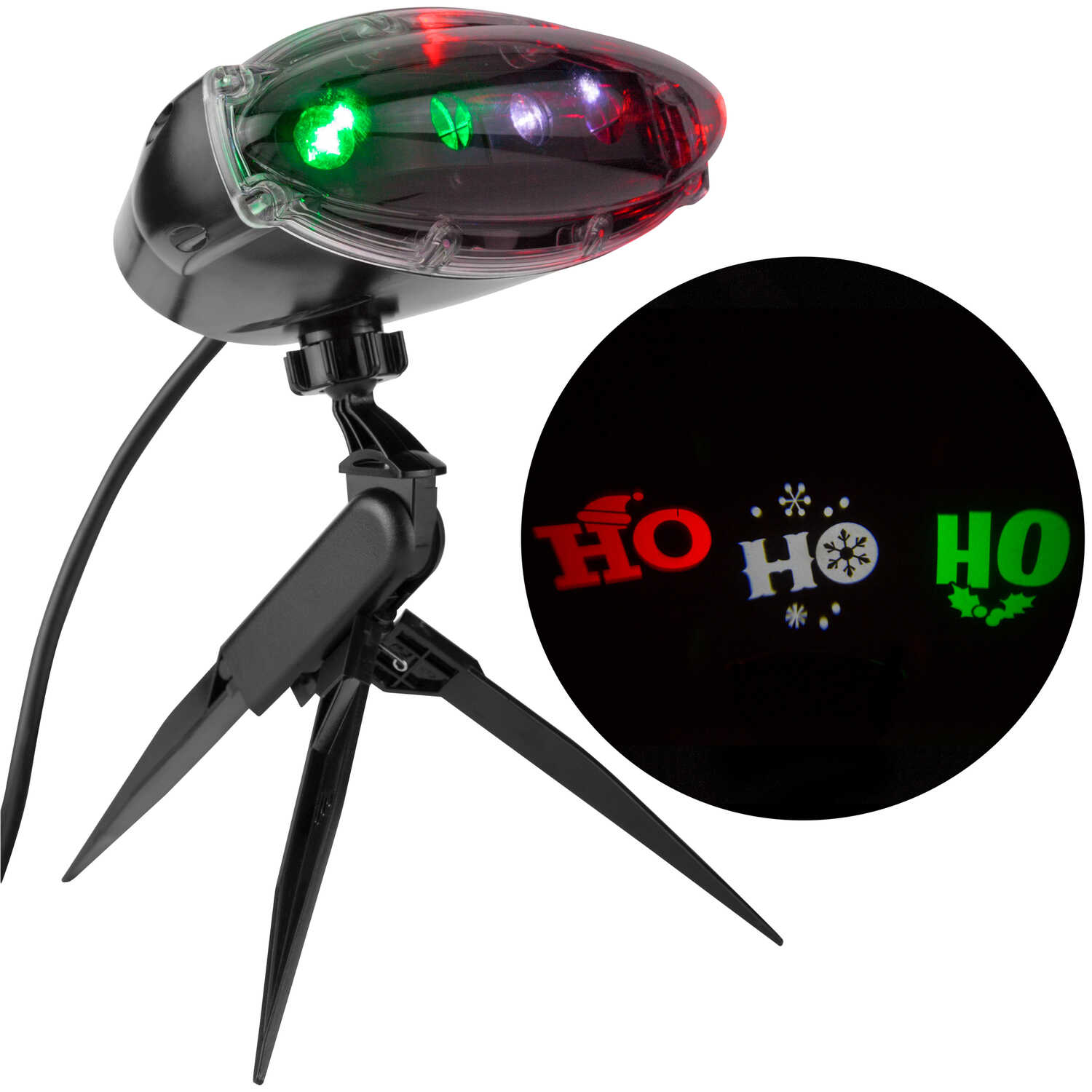 Gemmy  Ho Ho Ho  LED Projector  Plastic  1 pk Red/White/Green
