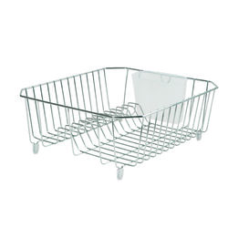 Rubbermaid  5.3 in. H x 12.4 in. W x 14.3 in. L Steel  Dish Drainer  Chrome