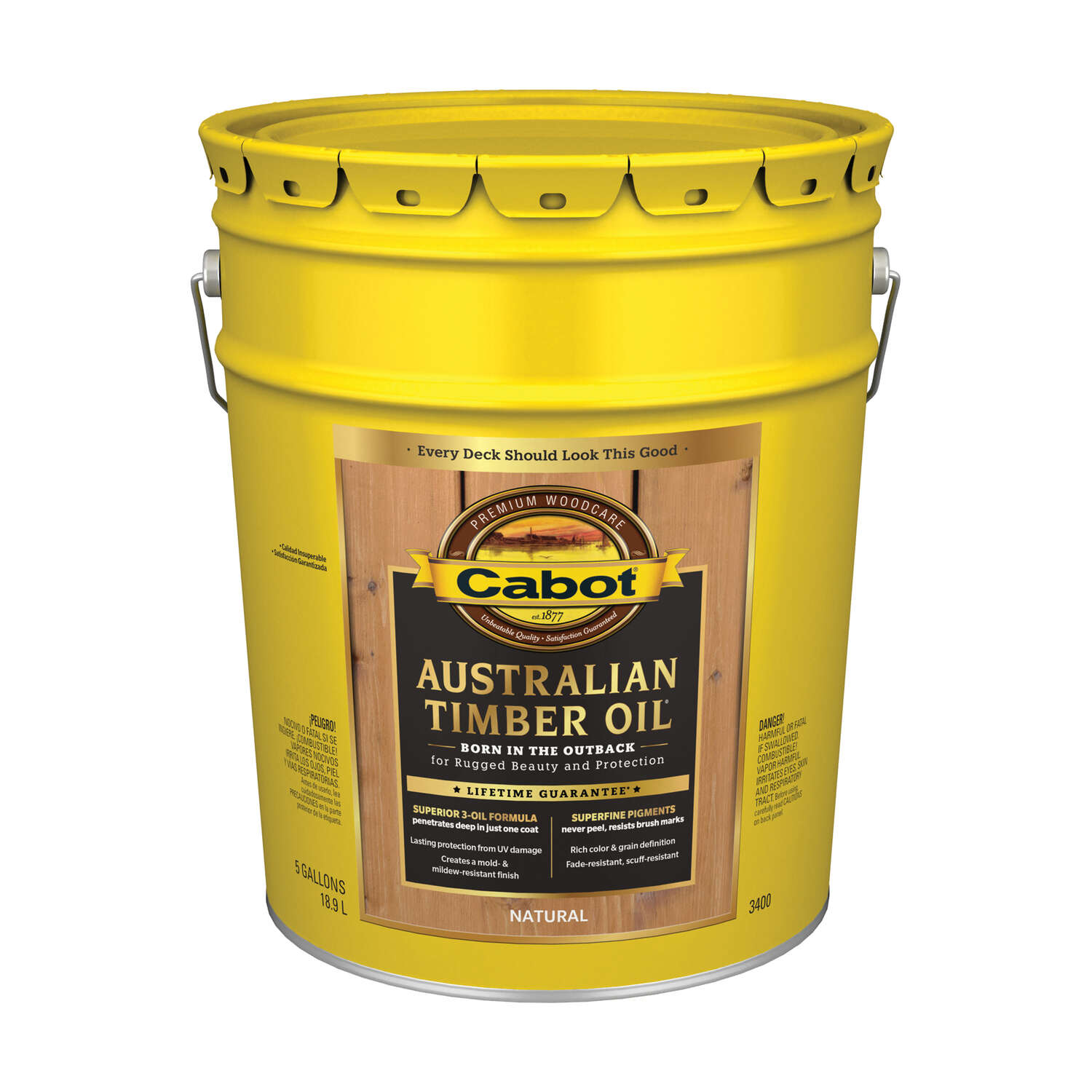 Cabot  Transparent  Natural  Oil-Based  Alkyd  Australian Timber Oil  5 gal.