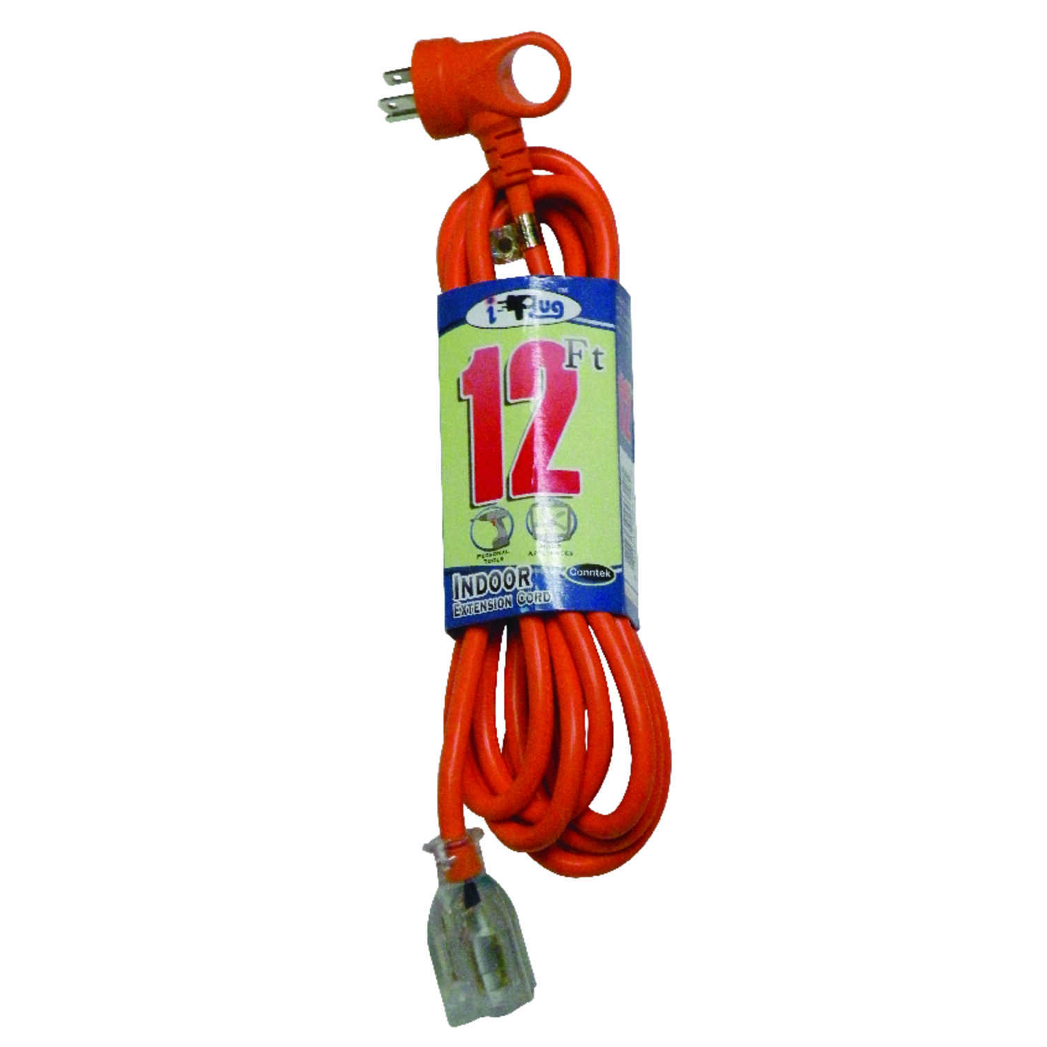 Conntek  Indoor  Extension Cord  16/3 SJT  12 ft. L Orange