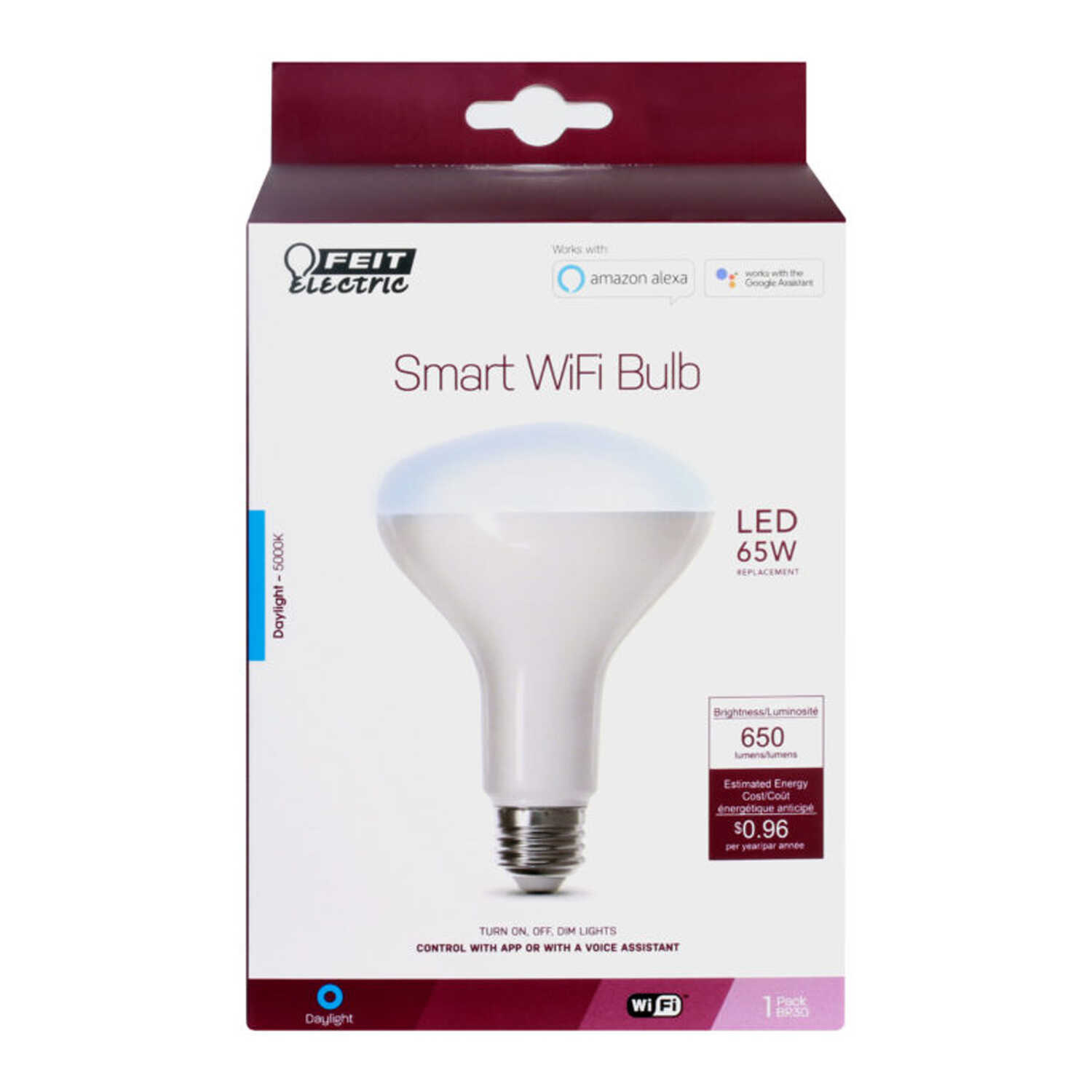 FEIT Electric  8 watts BR30  Smart WiFi LED Bulb  650 lumens Daylight  Specialty  65 Watt Equivalenc