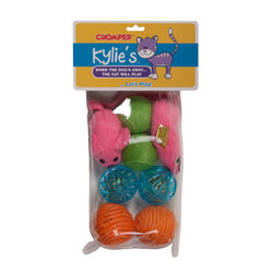 Chomper  Kylies Brights  Assorted  Mouse and Ball  Pet Toy  Large  8 pc.