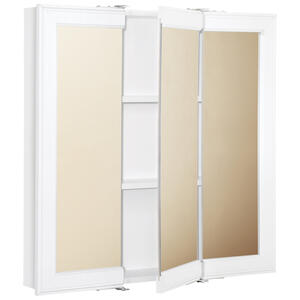 Continental Cabinets  24 in. H x 24 in. W x 4-7/16 in. D Square  Tri-View Medicine Cabinet