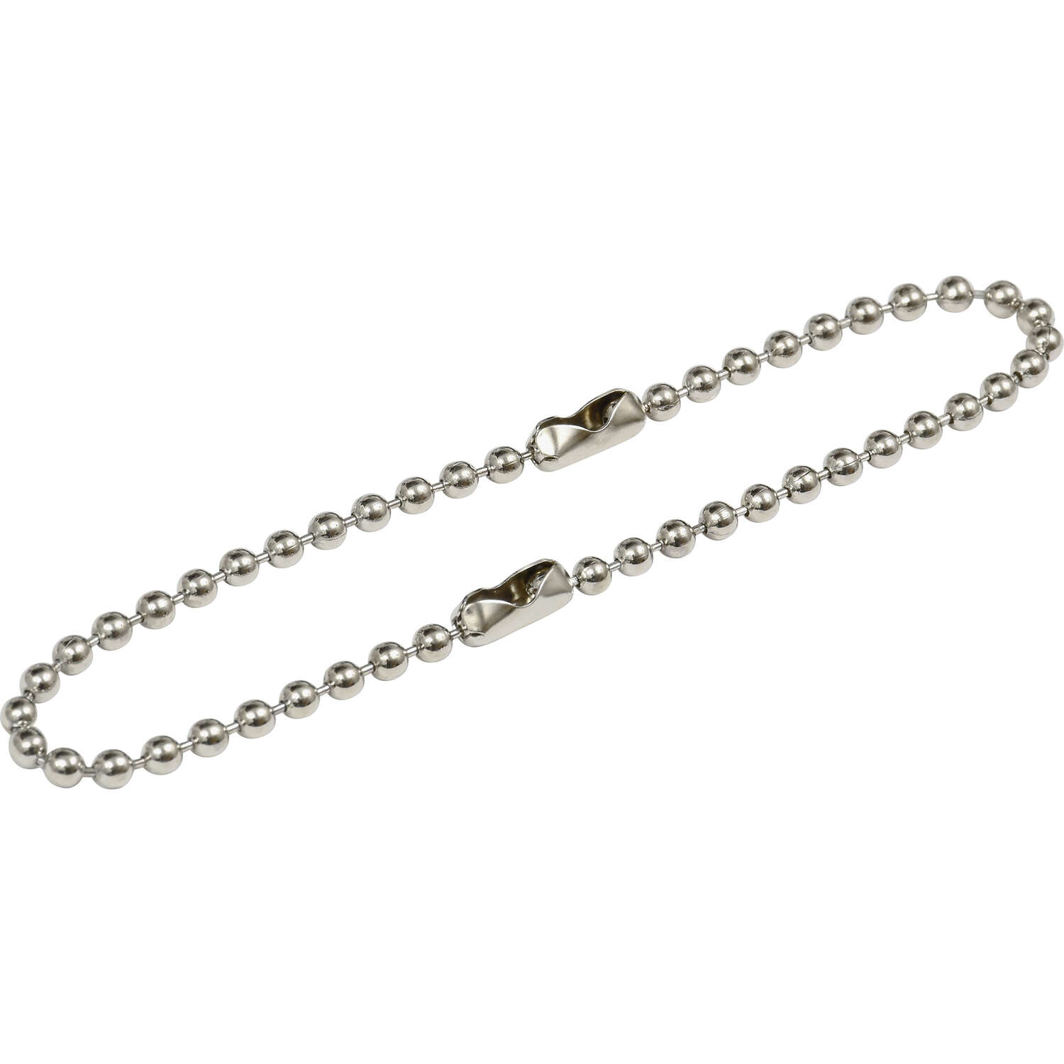 Hillman  6 in. Dia. Metal  Silver  Beaded Chain  Key Ring
