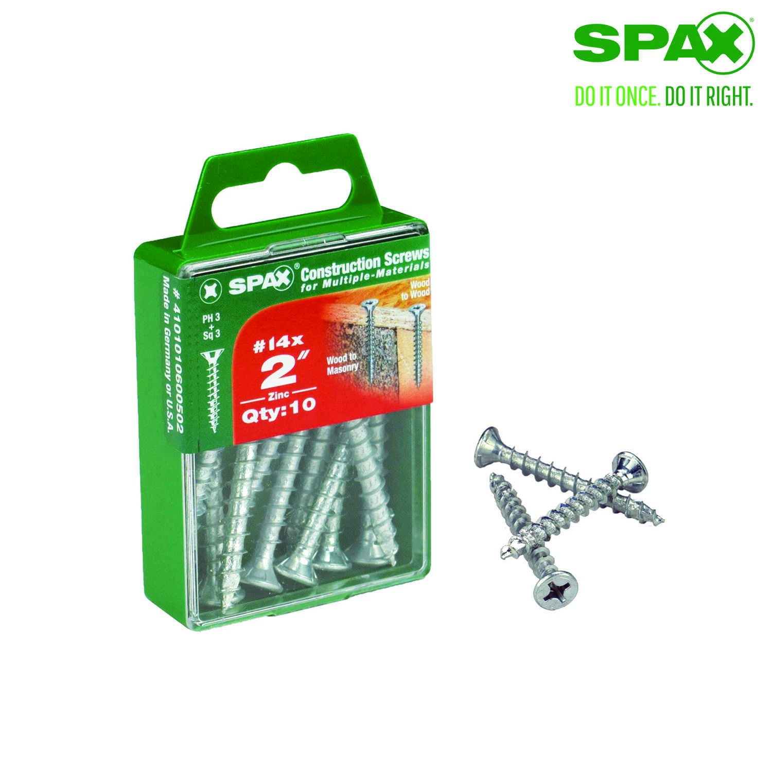 SPAX  No. 14   x 2 in. L Phillips/Square  Flat Head Zinc-Plated  Steel  Multi-Purpose Screw  10 each