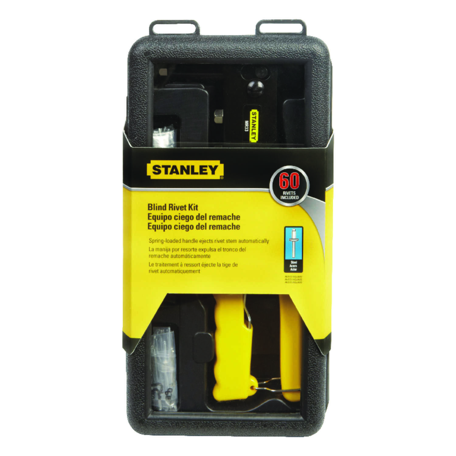 Stanley  1/2 in. L 3/16 in. Steel  Rivet Set  Yellow  60 pk