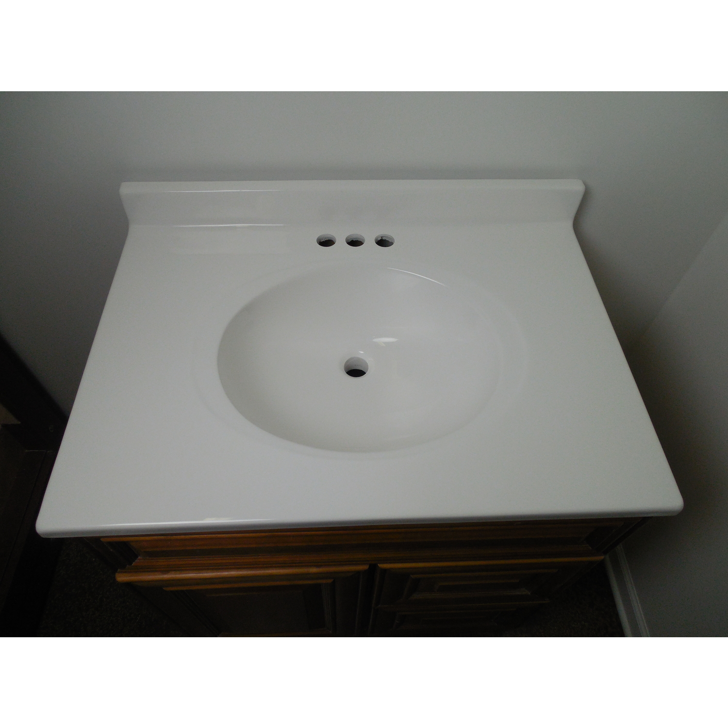 Imperial Marble Vanity Top Oval Bowl 25 in. x 22 in. White