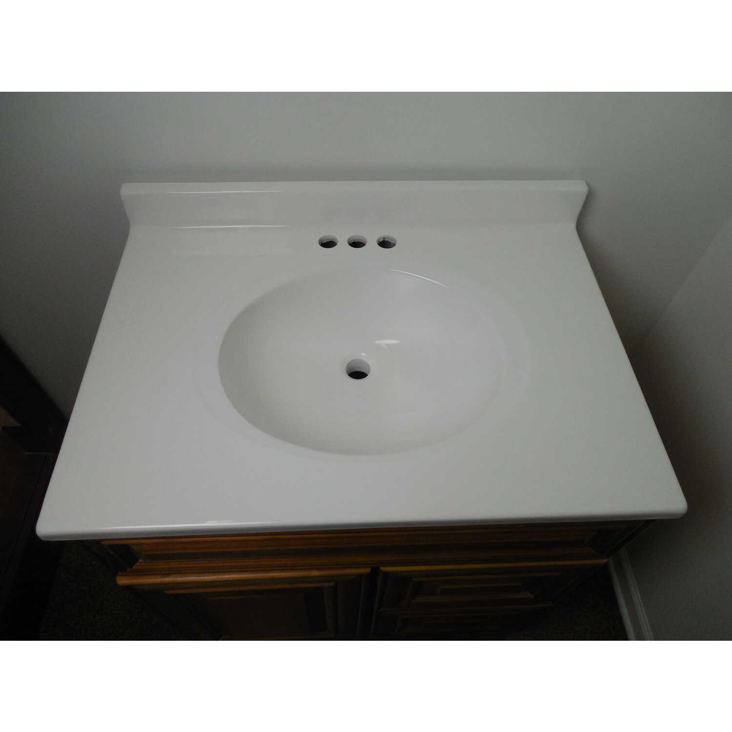 Imperial Marble  Single  Gloss  Solid White  Vanity Top  25 in. W x 22 in. D