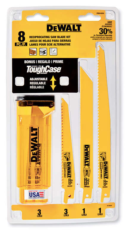 DeWalt  8 Piece  6 in. L x 3/4 in. W Bi-Metal  Reciprocating Saw Blade  6 TPI 8 pk