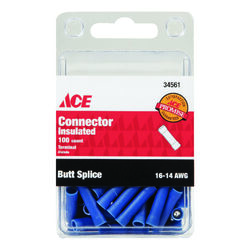 Ace Insulated Wire Butt Connector Blue 100 pk