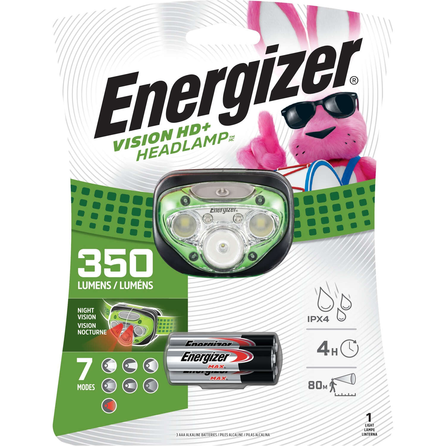 Energizer  Vision HD  250 lumens Green  LED  Headlight  AAA Battery