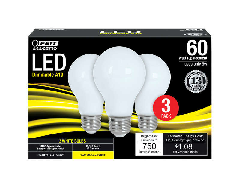 FEIT Electric  Filament  9 watts A19  LED Bulb  750 lumens Soft White  A-Line  60 Watt Equivalence