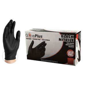 GlovePlus  Nitrile  Disposable Gloves  S  Black  100 pk