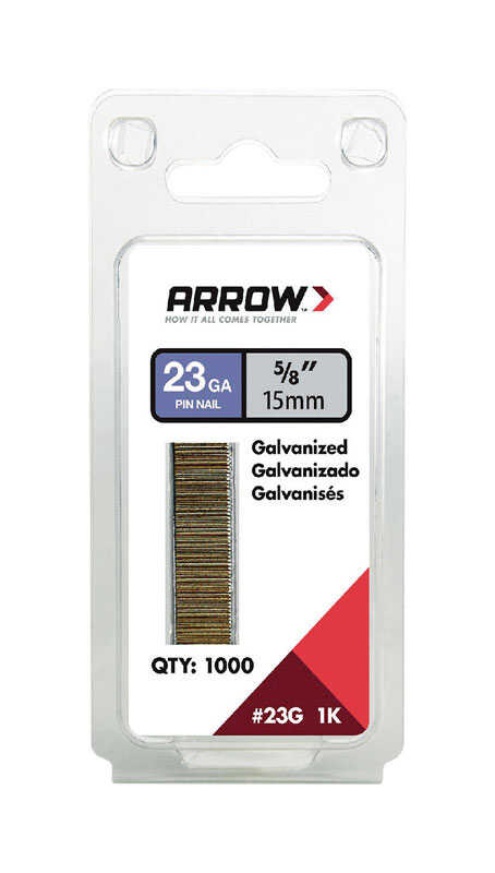 Arrow Fastener  5/8 in. 23 Ga. Straight Strip  Pin Nails  Smooth Shank  1,000 pk