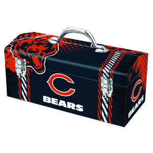 Sainty International  Chicago Bears  Steel  NFL  Art Deco Tool Box  7.75 in. H x 7.1 in. W 16.25 in.