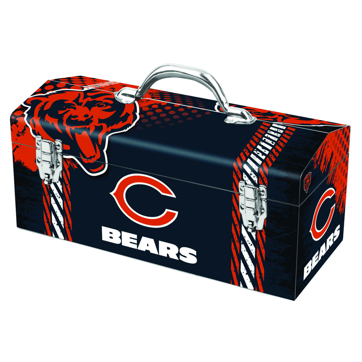 Sainty International  16.25 in. Steel  Chicago Bears  Art Deco Tool Box  7.1 in. W x 7.75 in. H