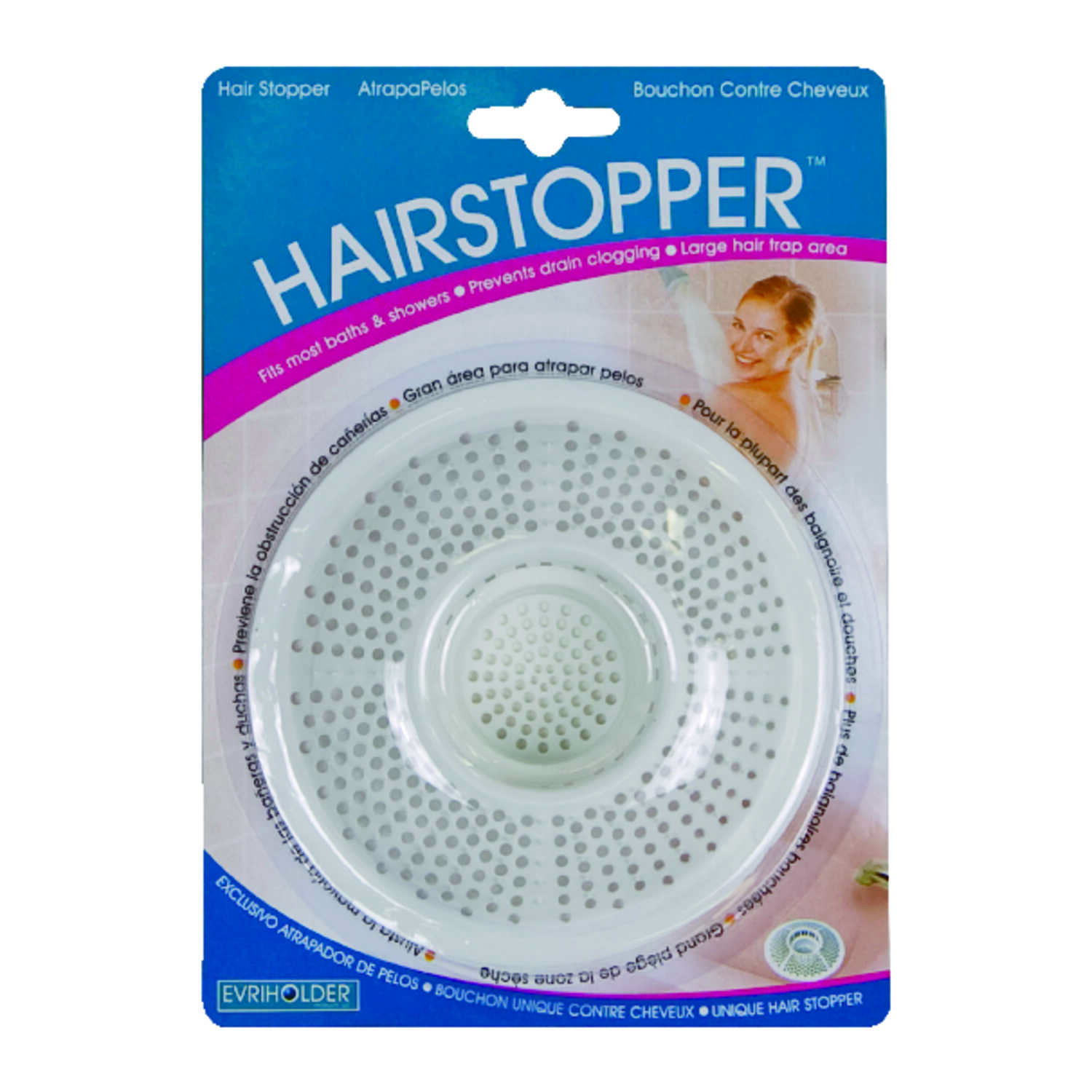 Evriholder  Hairstopper  Household  Bath Strainer  Plastic  1 pk