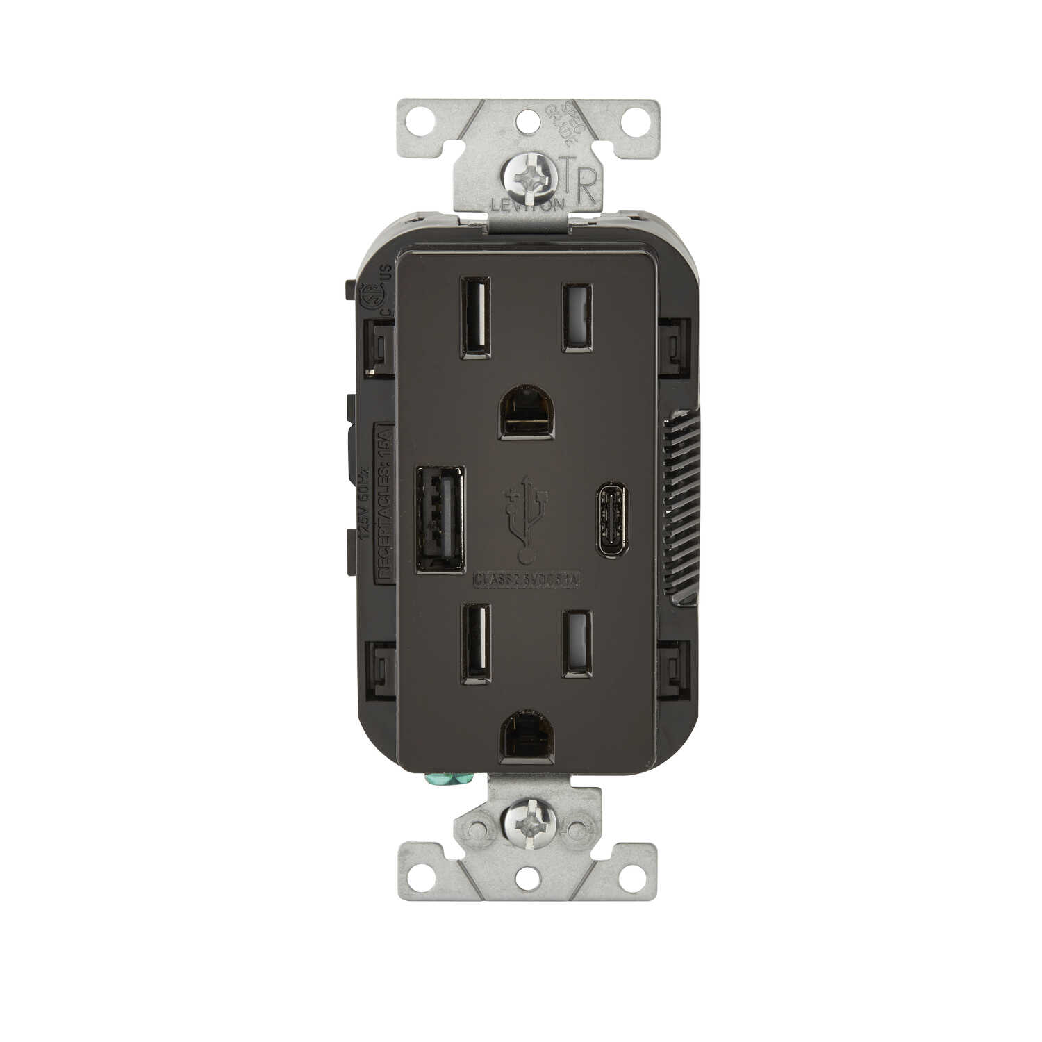 Leviton  Decora  15 amps 125 volt Brown  Outlet and USB Charger  5-15R  1 pk