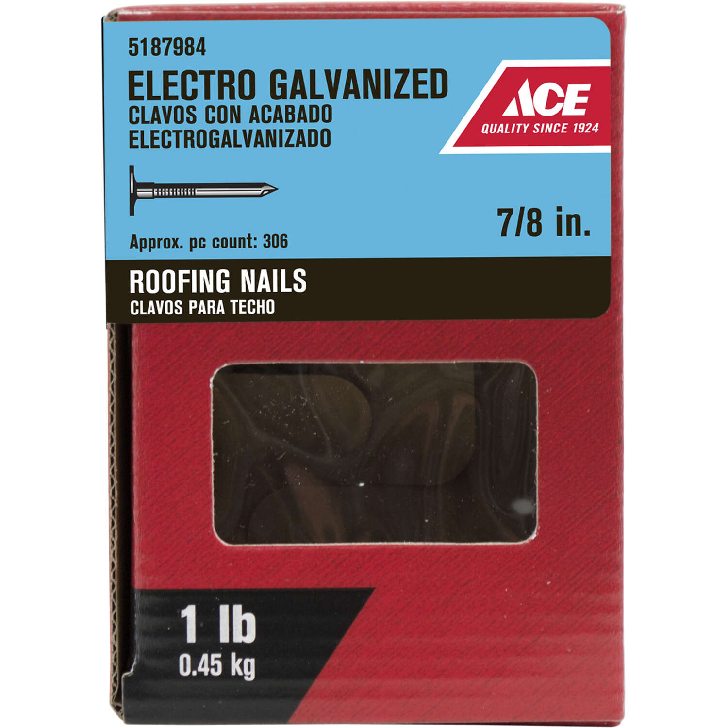 Ace  7/8 in. Roofing  Electro-Galvanized  Steel  Nail  Large  1 lb.