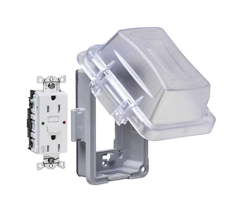 TayMac  5.90 in. Rectangle  Thermoplastic  GFCI Outlet Kit