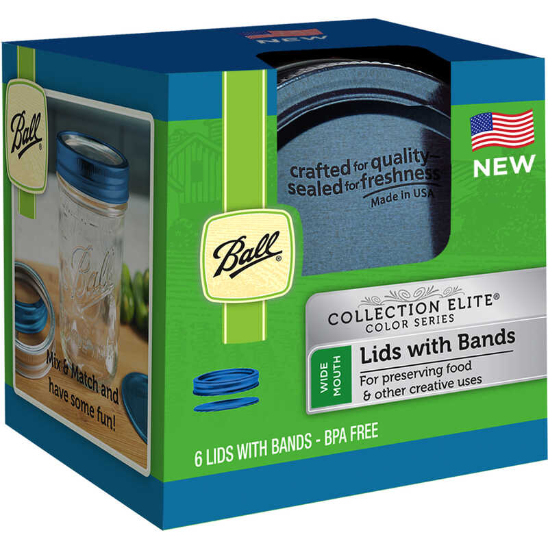 Ball  Collection Elite  Wide Mouth  Canning Lids with Rubber Rings  6 pk