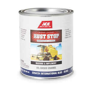 Ace  Rust Stop  Indoor and Outdoor  Gloss  International Blue  Rust Prevention Paint  1 qt.