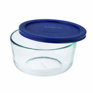 Pyrex  6 in. W x 6 in. L Round Glass Dish with Lid  Blue/Clear