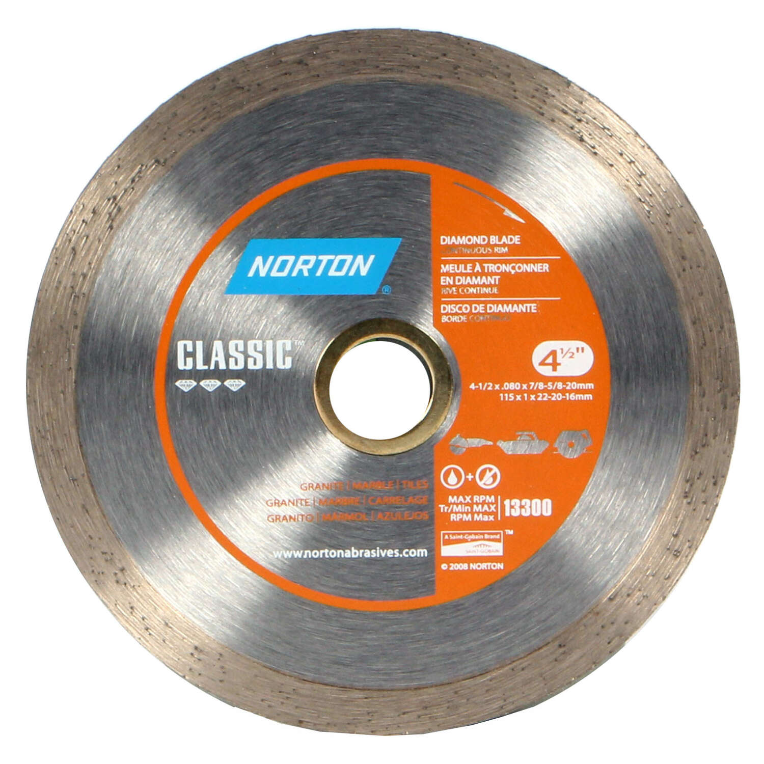 Norton  4-1/2  Diamond  0.08 in.  5/8 and 7/8  Classic  Continuous Rim Diamond Saw Blade  1 pc.