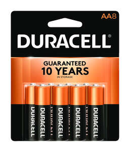 Duracell  Coppertop  AA  Alkaline  Batteries  8 pk Carded  1.5 volts