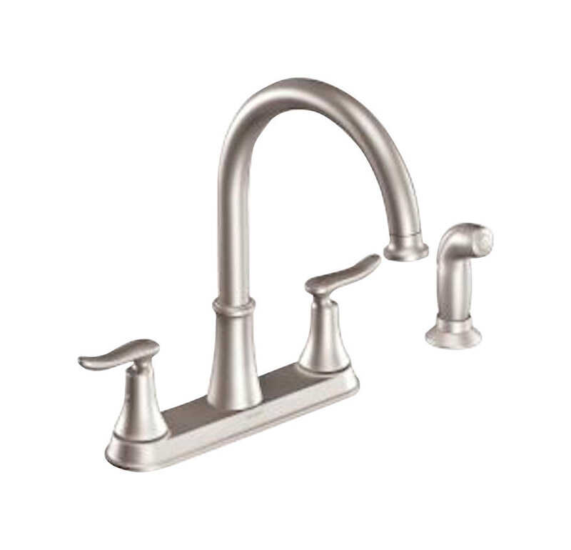 Moen  Solidad  Two Handle  Stainless Steel  Kitchen Faucet  Side Sprayer Included