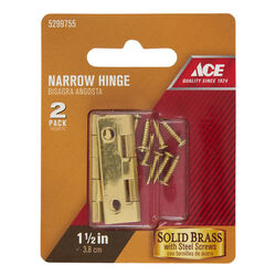 Ace 7/8 in. W x 1-1/2 in. L Polished Brass Brass Narrow Hinge 2 pk