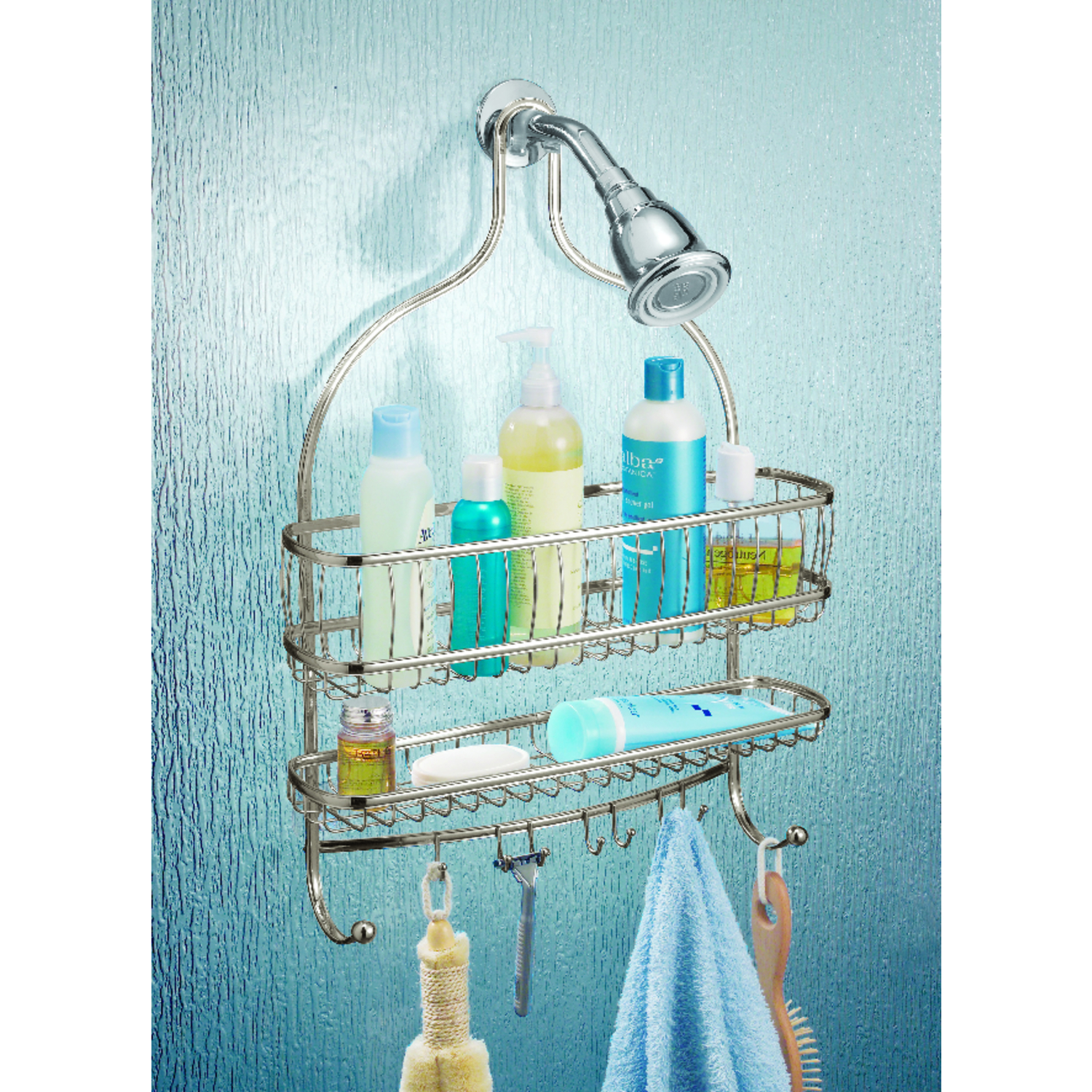 InterDesign Shower Caddy 4 in. H x 15 in. W x 21 in. L Satin Nickel ...