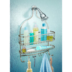 InterDesign  Shower Caddy  4 in. H x 15 in. W x 21 in. L Satin Nickel  Silver  Stainless Steel