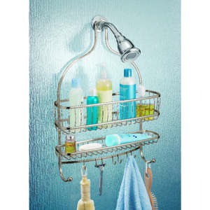 InterDesign  Shower Caddy  4 in. H x 15 in. W x 21 in. L Satin Nickel  Nickel  Stainless Steel