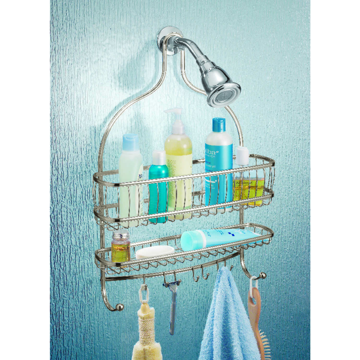 InterDesign  Shower Caddy  21 in. L x 4 in. H x 15 in. W Satin Nickel  Nickel  Stainless Steel