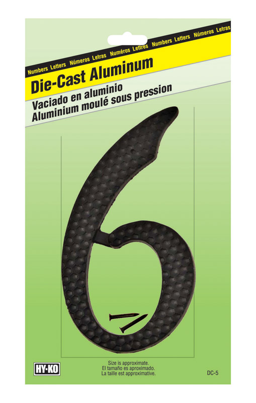 Hy-Ko  4-1/2 in. Aluminum  6  Number  Nail-On  Black