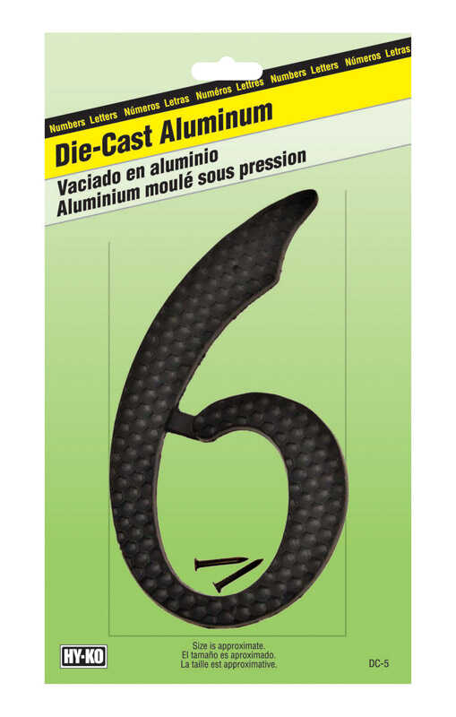 Hy-Ko  4-1/2 in. Aluminum  Black  6  Number  Nail-On