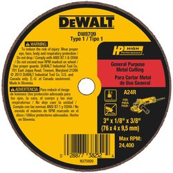 DeWalt  High Performance  3 in. Dia. x 3/8 in.  Aluminum Oxide  Cut-Off Wheel  1 pc. Prop 65 Violation