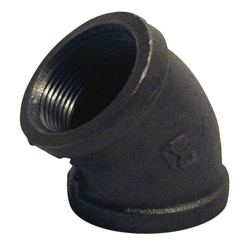B & K  1-1/4 in. FPT   x 1-1/4 in. Dia. FPT  Black  Malleable Iron  Elbow