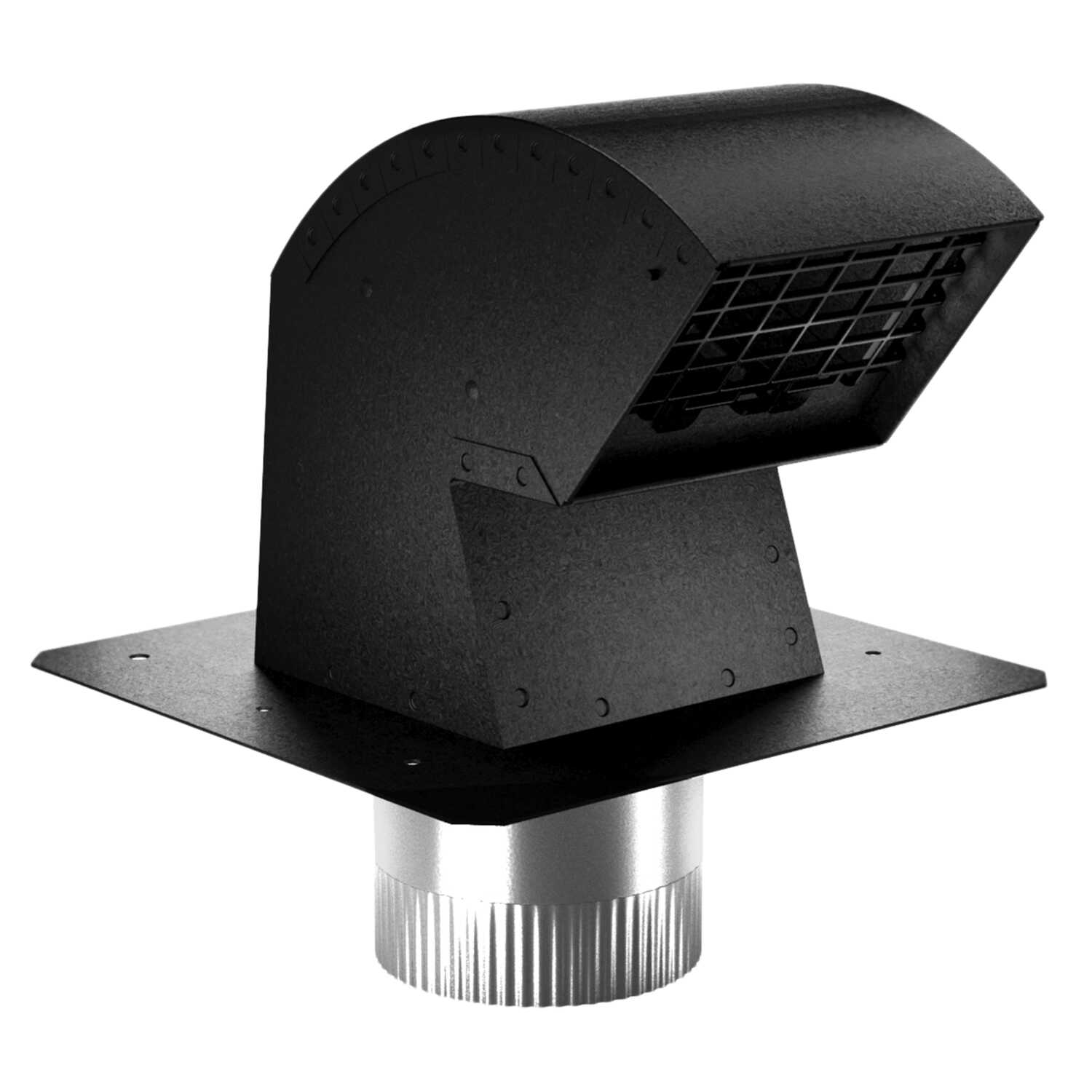 Imperial Manufacturing  R2  9 in. L x 4 in. Dia. Black/Silver  Aluminum  Roof Cap with Collar