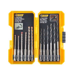 Steel Grip  Multi Size  Dia. Carbon Steel  Drill Bit Set  1/4 in. Hex Shank  12 pc.